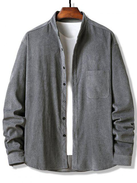 buy Button Up Pocket Corduroy Shirt - GRAY S Mobile