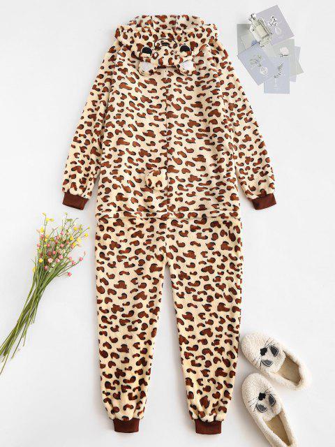 Pyjama Combinaison Léopard Animal Fourré en Laine - café L Mobile