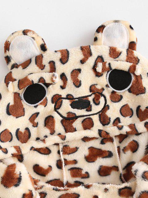 Pyjama Combinaison Léopard Animal Fourré en Laine - café S Mobile