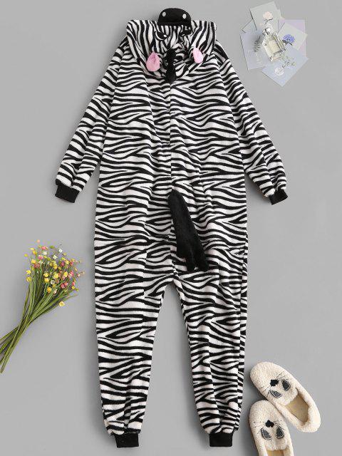 fashion Fluffy Button Front Fleece Zebra Onesie Pajamas - BLACK L Mobile