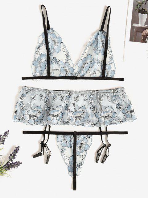 women Floral Embroidered Mesh Bra and Garter Set - LIGHT BLUE L Mobile