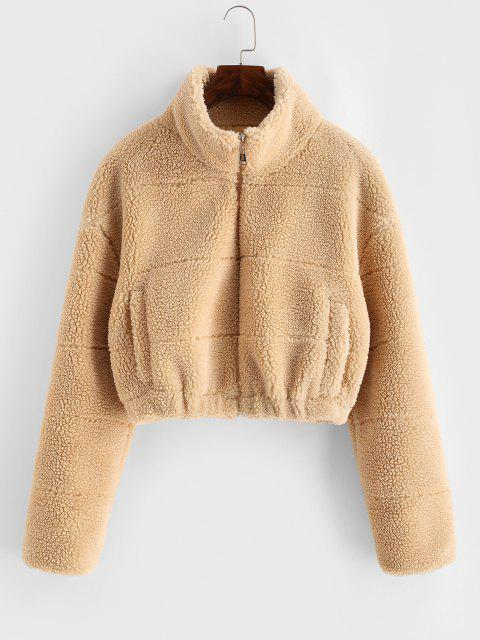 ZAFUL Faux Shearling Zip Pocket Teddy Jacket - القهوة الخفيفة M Mobile