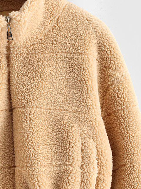 affordable ZAFUL Faux Shearling Zip Pocket Teddy Jacket - LIGHT COFFEE M Mobile