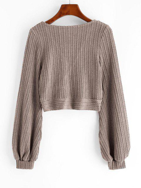 best Cable Knit Surplice Cropped Knitwear - CAMEL BROWN S Mobile