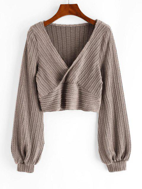 online Cable Knit Surplice Cropped Knitwear - CAMEL BROWN M Mobile