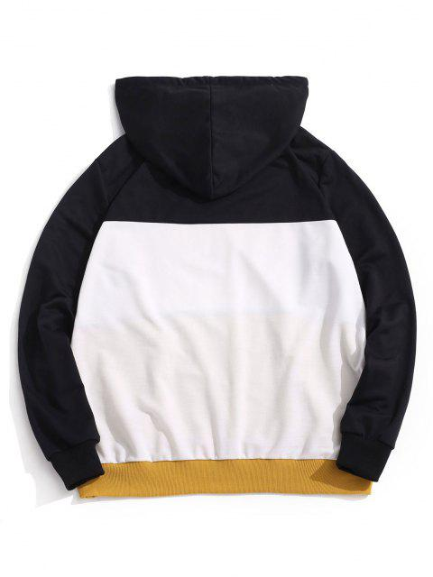 outfits ZAFUL Letter Embroidered Contrast Hoodie - YELLOW S Mobile