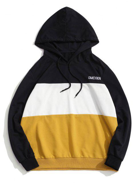 fancy ZAFUL Letter Embroidered Contrast Hoodie - YELLOW L Mobile
