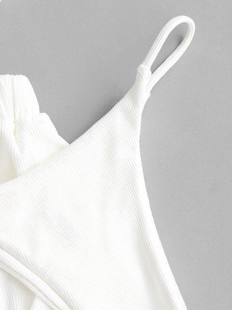 ZAFUL Bikini Bandeau de Tres Piezas Acanalado con Ojo de Cerradura - Blanco S Mobile