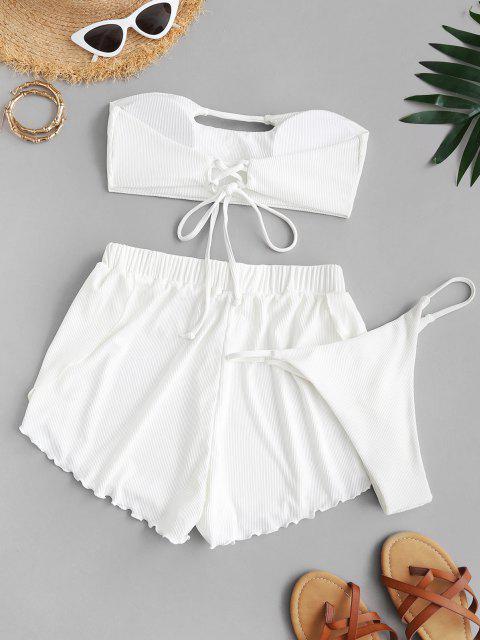 womens ZAFUL Ribbed Keyhole Bandeau Three Piece Bikini Swimsuit - WHITE S Mobile