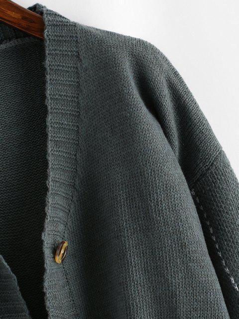Cardigã com botões com estampa listrada - Cinzento Um Tamanho Mobile