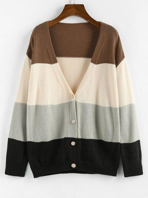 unique ZAFUL Color Blocking Drop Shoulder Plunge Cardigan - MULTI M Mobile