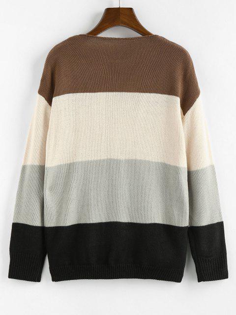 outfits ZAFUL Color Blocking Drop Shoulder Plunge Cardigan - MULTI L Mobile