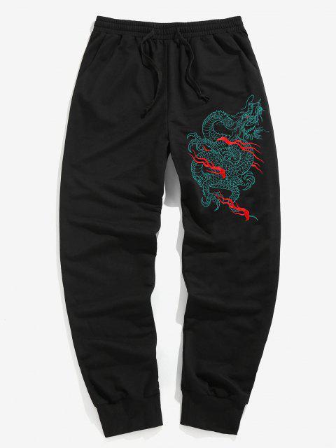 ZAFUL Pantalones Deportivos con Bordado de Dragón - Negro 2XL Mobile