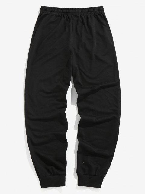 buy ZAFUL Dragon Embroidered Sports Pants - BLACK 2XL Mobile