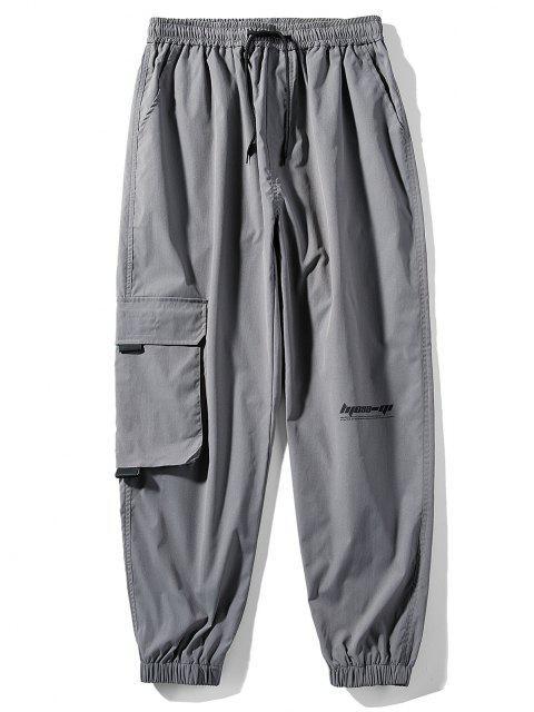 Pantalones Rayados Estampado Letras - Gris Carbón L Mobile