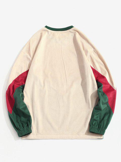 fashion Colorblock Chevron Print Crew Neck Sweatshirt - MULTI 2XL Mobile