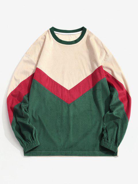 Farbblock Chevron Druck Rundhalsausschnitt Sweatshirt - Multi 2XL Mobile
