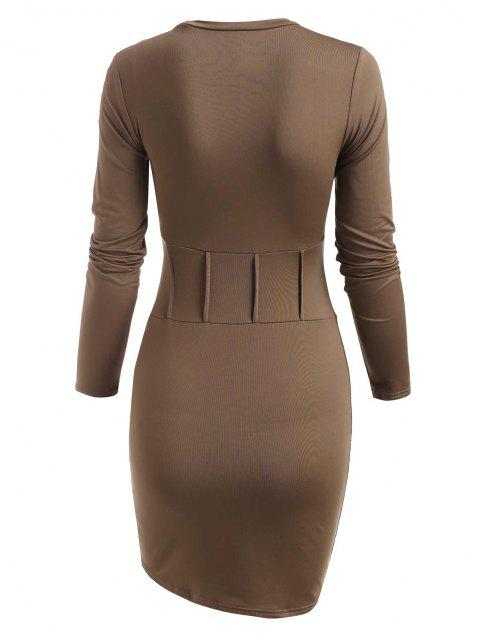 outfit Solid Long Sleeve Pintuck Slinky Dress - COFFEE L Mobile