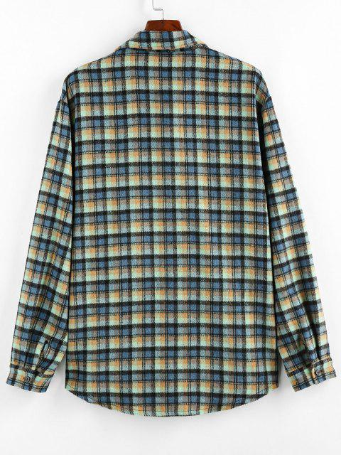 ZAFUL Plaid Print Curved Hem Button Up Shirt - متعددة-A S Mobile