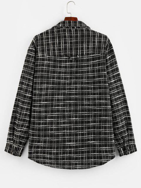 trendy ZAFUL Button Up Plaid Print Curved Hem Shirt - BLACK S Mobile