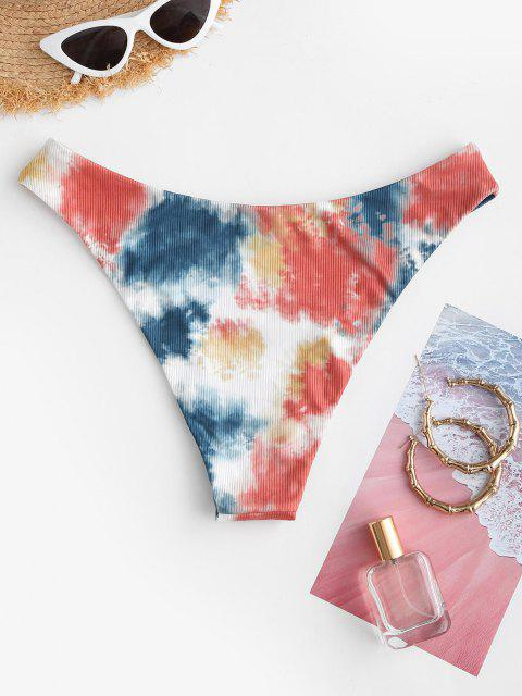 buy ZAFUL Tie Dye Ribbed Bikini Bottom - BLUE L Mobile