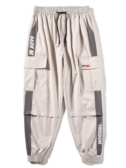 Pantalones de Carga con Estampado de Letras de Bloqueo de Color en Panel - Caqui Claro XS Mobile