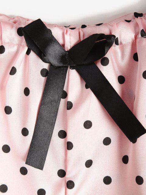 Tupfen Satin Pyjama Set mit Spitzenbesatz - Hell-Pink M Mobile