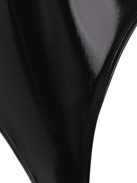 womens V Neck Faux Patent Leather Wet Look Bodysuit - BLACK L Mobile
