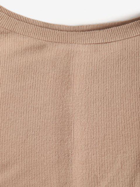 new Shoulder Pad Rib-knit Tank Top - LIGHT COFFEE L Mobile