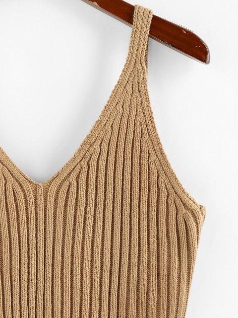 shop ZAFUL Ribbed Plunging Open Back Tank Sweater - LIGHT COFFEE L Mobile