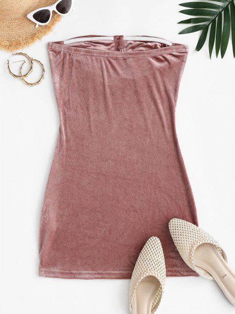 shop Mini Velvet Tube Dress - LIGHT PINK M Mobile