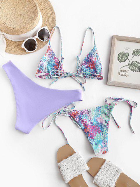 Bikini a Tre Pezzi a Pois con Lacci Laterali di ZAFUL - Viola L Mobile