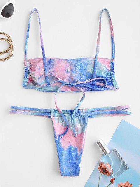 latest ZAFUL Tie Dye Snowflake Tanga Bikini Swimwear - BLUE M Mobile