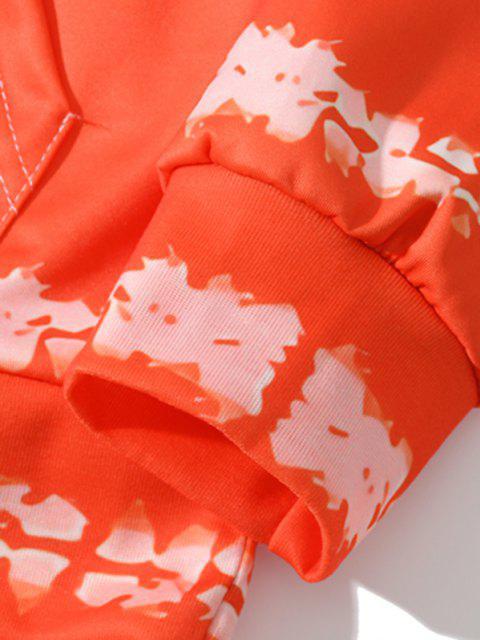 Sudadera con Capucha con Estampado de Letras y Bolsillo Delantero - Naranja de Halloween 3XL Mobile