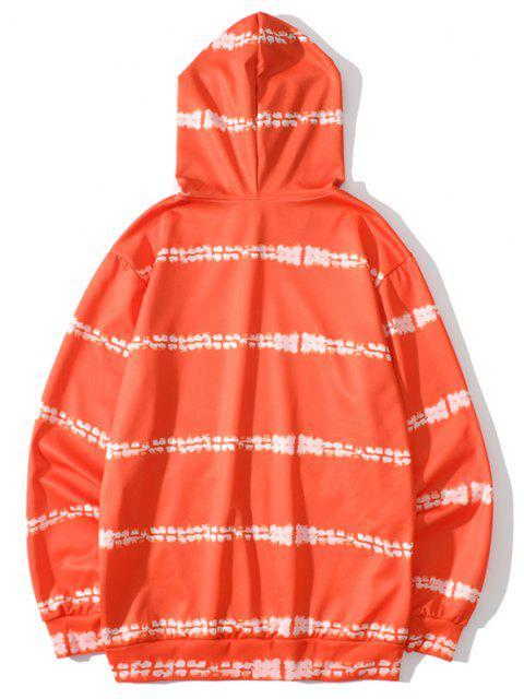 Sweat à Capuche Imprimé Lettre Noir et Blanc avec Poche Devant - Orange Halloween L Mobile