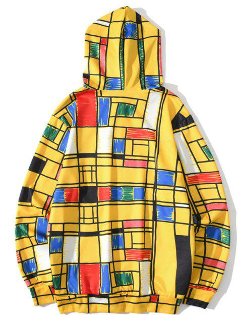 shop Front Pocket Geometric Pattern Hoodie - BRIGHT YELLOW 3XL Mobile