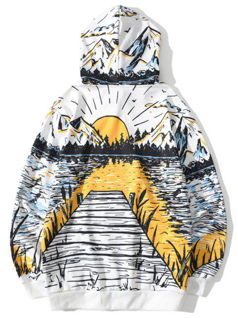 best Lake Mountain Sunrise Landscape Print Hoodie - WHITE M Mobile