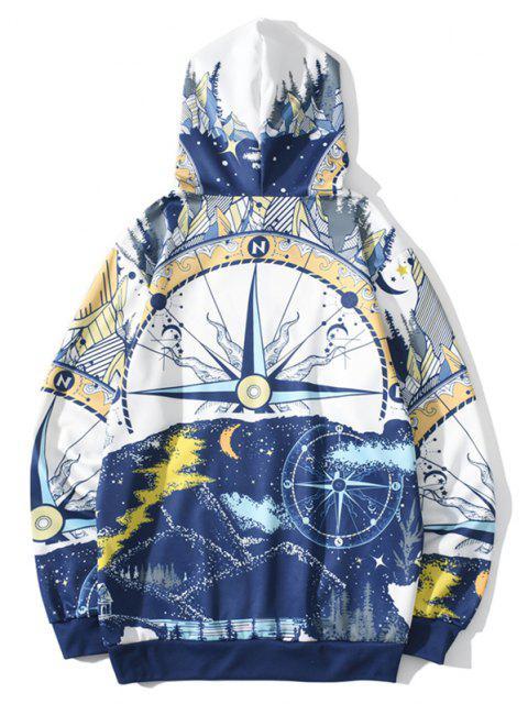 chic Nautical Moon Pattern Hoodie - COBALT BLUE L Mobile