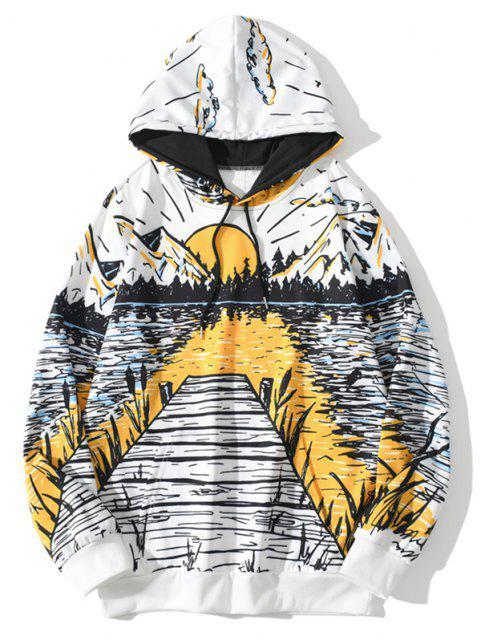 See Berg Sonnenaufgang Landschaftdruck Hoodie - Weiß XL Mobile