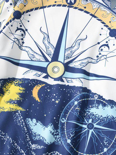 affordable Nautical Moon Pattern Hoodie - COBALT BLUE XL Mobile