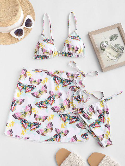 lady ZAFUL Cami Butterfly Print Three Piece String Bikini Swimwear - WHITE S Mobile