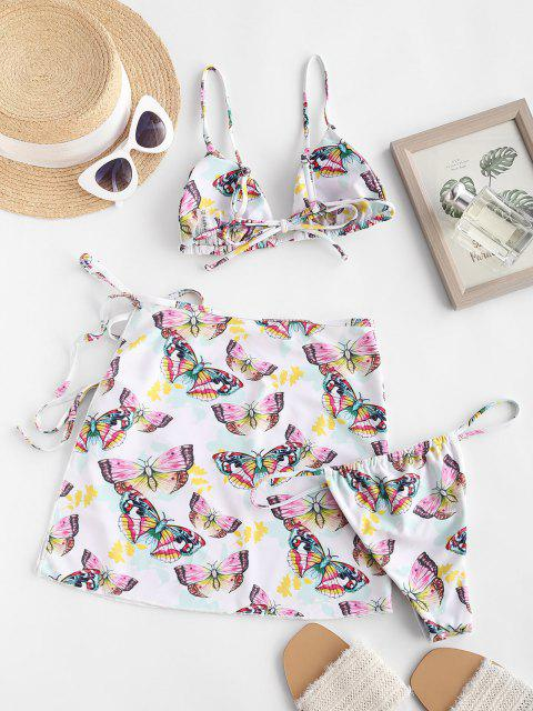 online ZAFUL Cami Butterfly Print Three Piece String Bikini Swimwear - WHITE L Mobile
