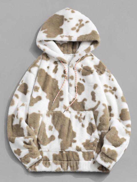 trendy Cow Pattern Fluffy Half Zipper Hoodie - TAN L Mobile
