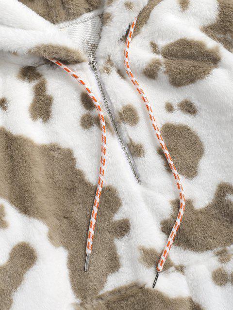 Sweat à Capuche Fourré Motif de Vache à Demi-Zip - Bronze 2XL Mobile