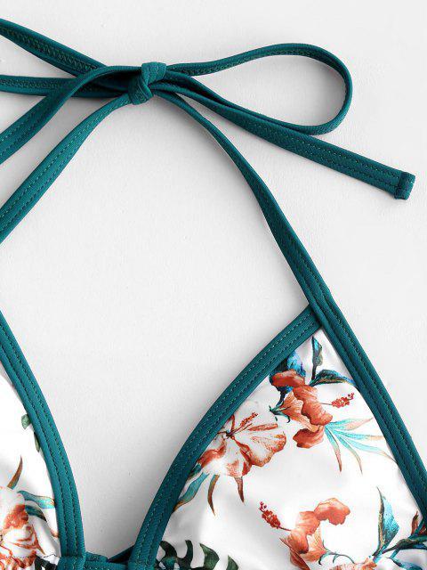ZAFUL Costume da Bagno Bikini con Stampa Floreale a Contrasto - Bianca S Mobile