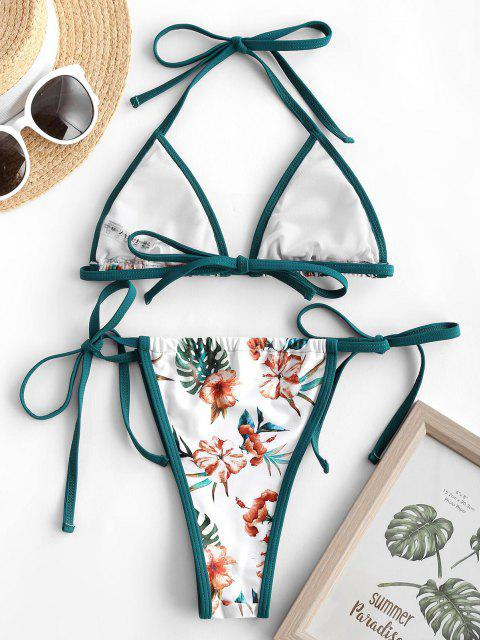 chic ZAFUL Contrast Binding Flower Print String Bikini Swimwear - WHITE M Mobile