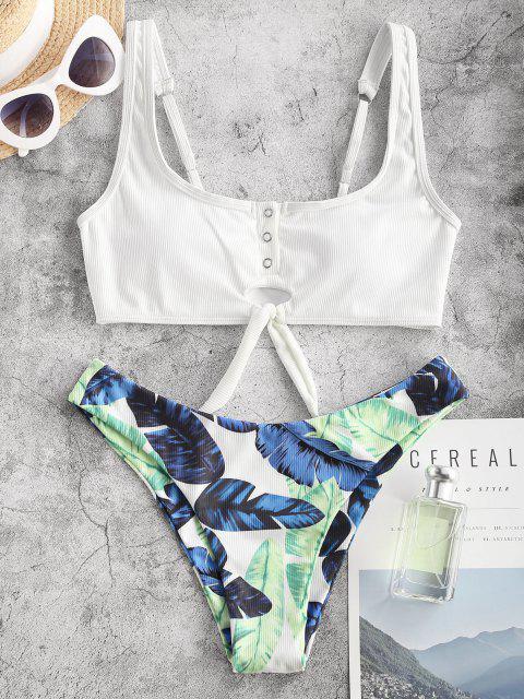 ZAFUL Maillot de Bain Bikini Noué Côtelé Feuille Tropicale - Blanc S Mobile