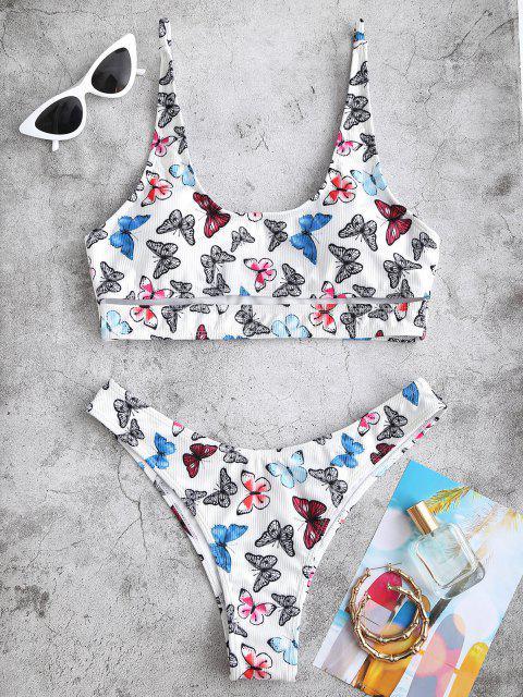 ZAFUL Maillot de Bain Bikini Côtelé Découpé Papillon - Multi S Mobile