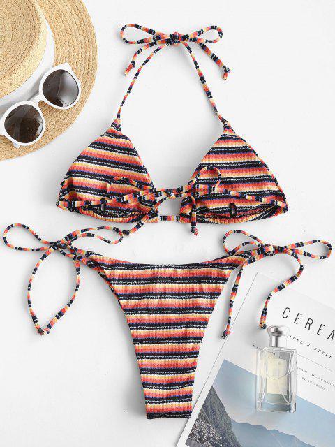 ZAFUL Maillot de Bain Bikini Rayé Noué à Côté à Col Halter - Multi L Mobile