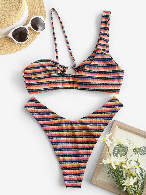 ZAFUL Bikini de Un Hombro Acanalado a Rayas con Anillo - Multicolor S Mobile